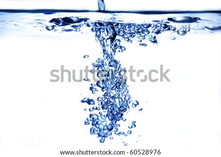 Bubbles of water puring