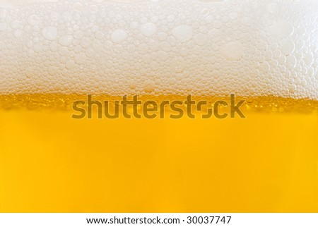 Bubbles of white foam on light beer - stock photo