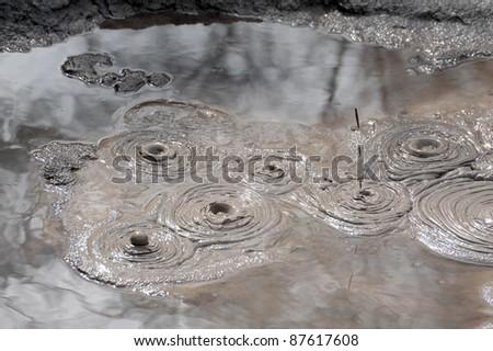Bubbling Mud Pool at Whakarewarewa, Rotorua, New Zealand - stock photo