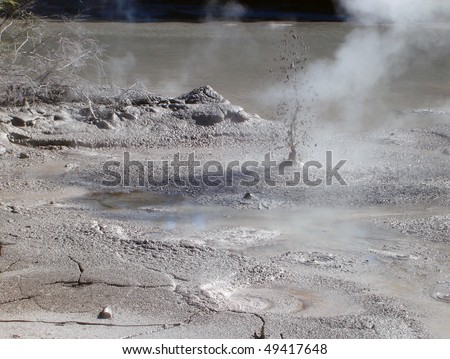 Bubbling Mud releasing Hydrogen Sulphide Gas. Geothermal Activity near Rotorua, New Zealand