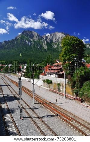 Bucegi mountain view, Busteni, Romania - stock photo