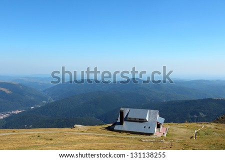 Bucegi Mountains, part of Southern Carpathians in Romania. Hiking trail and mountain hut.