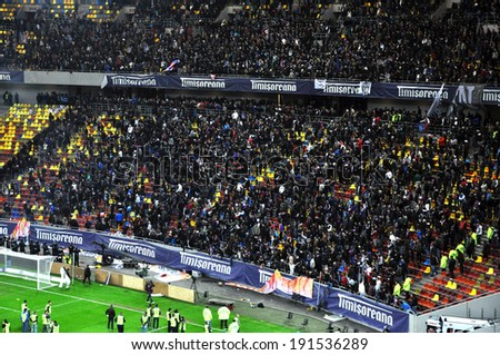 BUCHAREST - APRIL 17:  National Arena stadium full with crowd of hooligans during a match between Dinamo and Steaua Bucharest. On April 17, 2014 in Bucharest, Romania