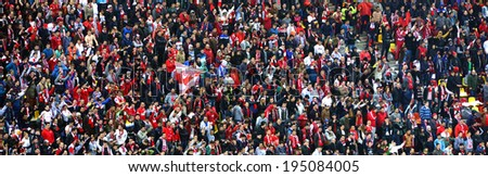 BUCHAREST - APRIL 17:  National Arena stadium full with crowd of supporters during a match between Dinamo and Steaua Bucharest. On April 17, 2014 in Bucharest, Romania - stock photo
