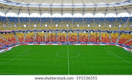 BUCHAREST - APRIL 17: Panorama of National Arena stadium before a match between Dinamo and Steaua Bucharest. On April 17, 2014 in Bucharest, Romania  - stock photo