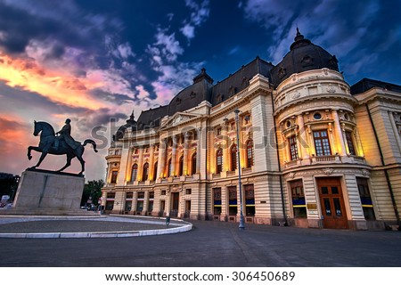 Bucharest at Sunset. Calea Victoriei, National Library - stock photo