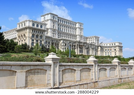 Bucharest, capital city of Romania. Palace of the Parliament. - stock photo