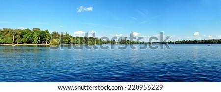 Bucharest city romania herestrau lake blue sky panorama - stock photo