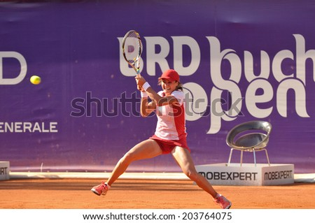 BUCHAREST - JULY 7: Monica Niculescu in action during the BRD Bucharest Open WTA tournament, first round, July 7th 2014, Bucharest, Romania
