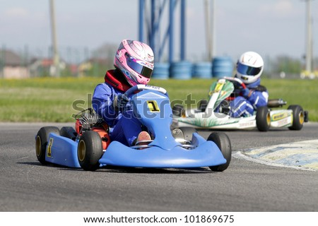BUCHAREST, ROMANIA - APRIL 21: Alexandra Marinescu, number 1, competes in National Karting Championship, Round 5, on April 21, 2012 in Bucharest, Romania.