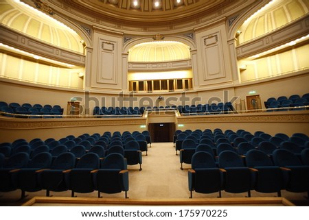BUCHAREST, ROMANIA - APRIL 26: Auditorium of Large stage in University Theatre on April 26, 2013 in Bucharest, Romania. Light and sound systems of University Theatre are one of best in Romania.