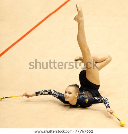 BUCHAREST, ROMANIA - APRIL 3: Isabella Iosvik performs during the Irina Deleanu Orange Trophy on April 3, 2011, Bucharest, Romania - stock photo