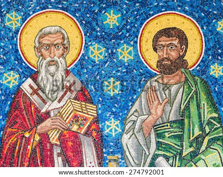 BUCHAREST, ROMANIA - APRIL 28, 2015: Jesus Christ Apostles Mosaic In The Church Of 1989 Revolution Martyrs. - stock photo