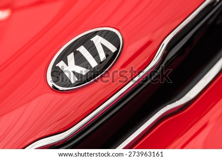 BUCHAREST, ROMANIA - APRIL 28, 2015: Kia Motors was founded in 1957 and is South Korea second-largest automobile manufacturer. - stock photo