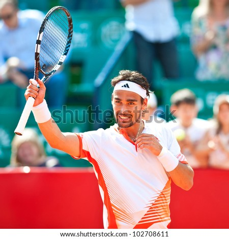 BUCHAREST, ROMANIA - APRIL  28: Tennis player Fabio Fognini (ITA) in action during BRD Nastase Tiriac Trophy on April  28, 2012 in Bucharest, Romania