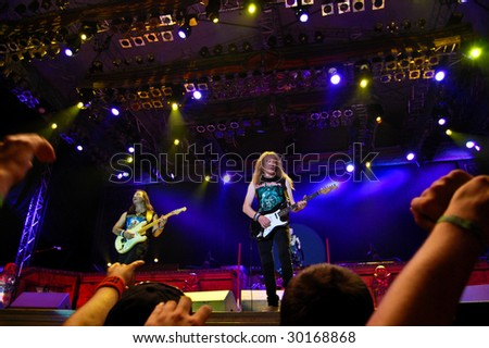 BUCHAREST, ROMANIA - AUGUST 4 : Iron Maiden performs at Cotroceni Stadium August 4, 2008 in Bucharest.