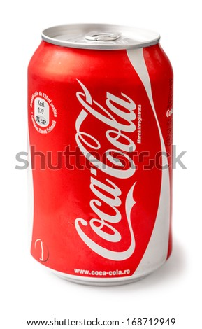 BUCHAREST, ROMANIA - DECEMBER 26, 2013: 330ml Coca-Cola Bottle Can Isolated On White Background. Coca-Cola is a carbonated soft drink sold in stores, restaurants, and vending machines around the world - stock photo