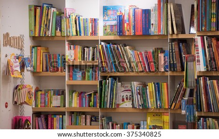Bucharest, Romania - February 10, 2016: Children books in a library in Bucharest.