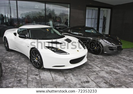 BUCHAREST, ROMANIA - FEBRUARY 24: Lotus carmaker through authorized agent MJD Prestige launched a new showroom - the only one in Eastern Europe. In this image Lotus Evora. Feb 24, 2011 in Bucharest - stock photo
