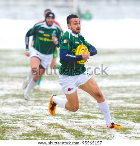 BUCHAREST, ROMANIA - FEBRUARY 4: Unidentified rugby players during Romania vs Portugal at National Stadium, score 15-4, on February 4, 2012 in Bucharest, Romania
