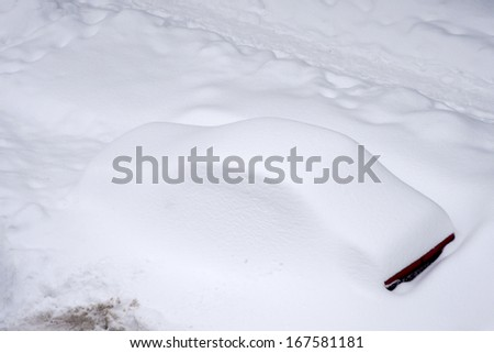 BUCHAREST ROMANIA - February 14: Weather anomalies covers all the city with snow, all the cars are trapped February 14, 2012 in Bucharest, Romania - stock photo