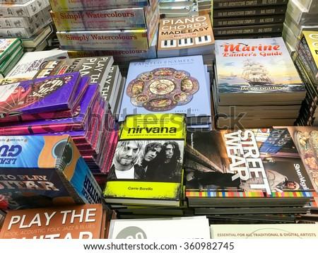 BUCHAREST, ROMANIA - JANUARY 10, 2016: Books For Sale On Library Shelf.