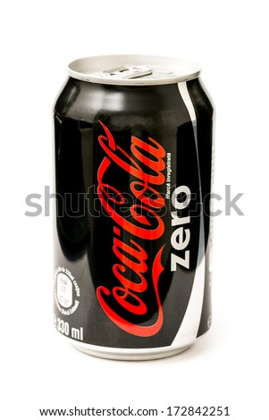 BUCHAREST, ROMANIA - JANUARY 23, 2014: Coca-Cola Zero Bottle Can Isolated On White Background. Coca-Cola is a carbonated soft drink sold in stores, restaurants, and vending machines around the world - stock photo