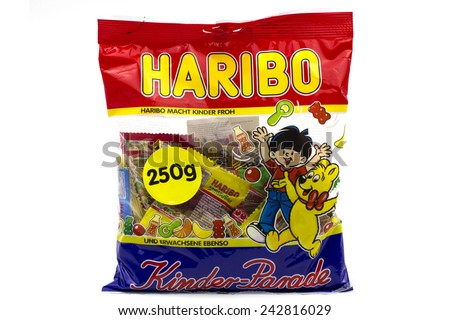"BUCHAREST, ROMANIA - January 9 2015: Haribo is a German confectionery company, founded in 1920 by Johannes (""Hans"") Riegel."