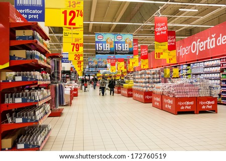 BUCHAREST, ROMANIA - JANUARY 22: People Shopping In Supermarket Store On January 22, 2014 In Bucharest, Romania. - stock photo