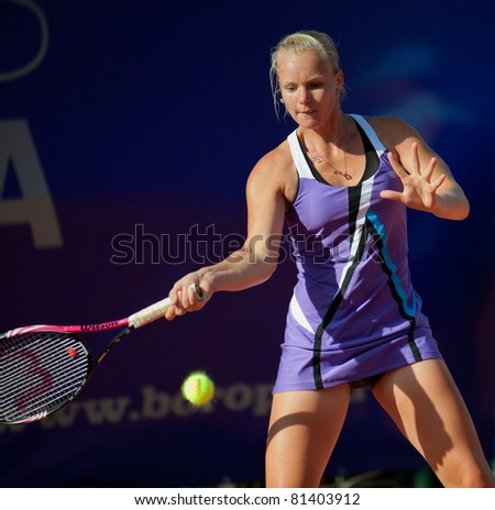 BUCHAREST, ROMANIA - JULY 19: Dutch tennis player Kiki Bertens in action during BCR Open Ladies on July 19, 2011 in Bucharest, Romania
