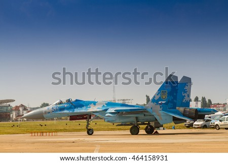 BUCHAREST, ROMANIA - JULY 30, 2016: Static display of SU-27 aircraft at General Aviation Show BIAS 2016