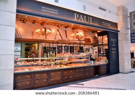 "Bucharest, Romania, July 29th: ""Paul"" bakery inside a shopping mall, Bucharest, Romania. Shot taken on July 29th, 2014 - stock photo"