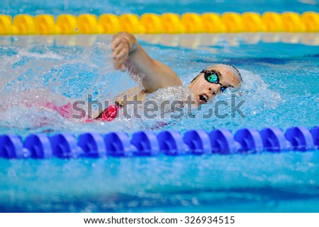 BUCHAREST, ROMANIA - JULY 10:Unknown swimmer competing in Dinamo pool in Romanian International Championship Swimming , Indoor Event on july 10, 2015 in Bucharest, Romania