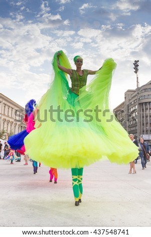 "BUCHAREST, ROMANIA - JUNE 09, 2016: Ballerinas show (Holland), inside of International Festival of Street Theater, ""B-FIT in the street 2016"""