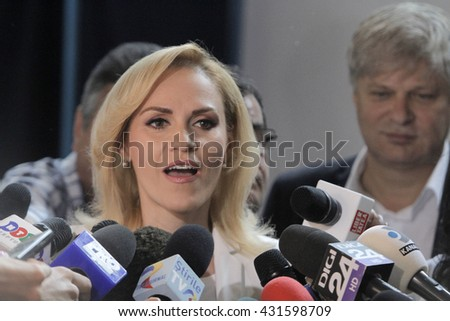 BUCHAREST, ROMANIA -June 05, 2016: Gabriela Firea, the candidate of Social Democrat Party (PSD) for Bucharest Mayor, speaks to press during the local elections. - stock photo