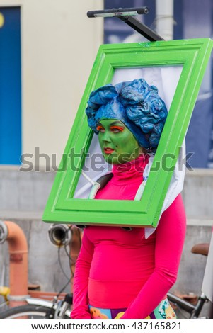 "BUCHAREST, ROMANIA - JUNE 09, 2016: Living Gallery show (Slovakia) present inside of International Festival of Street Theater, ""B-FIT in the street 2016"" - stock photo"