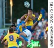 BUCHAREST, ROMANIA - JUNE 17: Unidentified rugby players during Romania vs Emerging Italy in European Nations Cup at National Stadium, score 17-13, on June 17 , 2012 in Bucharest, Romania - stock photo