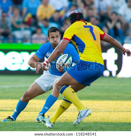 BUCHAREST, ROMANIA - JUNE 17: Unidentified rugby players during Romania vs Emerging Italy in European Nations Cup at National Stadium, score 17-13, on June 17 , 2012 in Bucharest, Romania