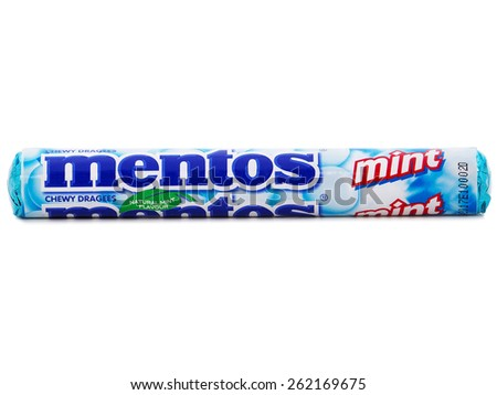 BUCHAREST, ROMANIA - MARCH 20, 2015. Mentos Chevy Mints, chewy dragees that provides the benefit of minty freshness with an enjoyable chew. Mentos is produced by Perfetti Van Melle corporation.