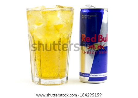 bucharest romania march 28 2014 250ml red bull bottle can isolated on white background with. Black Bedroom Furniture Sets. Home Design Ideas