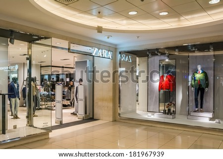 BUCHAREST, ROMANIA - MARCH 16: Zara Store On March 16, 2014 In Bucharest, Romania. Is a Spanish clothing and accessories retailer based in Arteixo, Galicia, and founded in 1975.