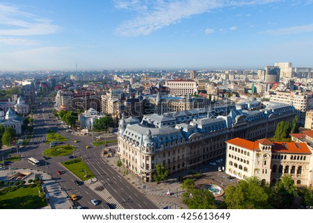 Bucharest, Romania, May 7, 2016: Aerial view of Central Bucharest street, with traffic passing by at Victory avenue, the main road of bucharest.