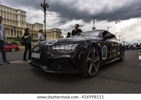 BUCHAREST, ROMANIA - MAY 7: Audi RS7 on parade on May 7, 2016 in Bucharest. The car is part of the Gumball 3000 Dublin to Bucharest Charity Grid Rally. - stock photo