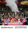 BUCHAREST, ROMANIA - MAY 9, 2012: Club Atletico de Madrid's wins UEFA Europa League on May 9, 2012 in Bucharest, Romania. - stock photo
