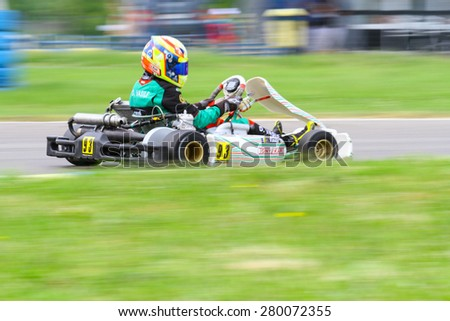 BUCHAREST, ROMANIA - MAY 16: Daniel Vasile, number 93, competes in National Karting Championship, Round 1, on May 16, 2015 in Bucharest, Romania.