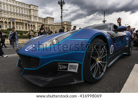 BUCHAREST, ROMANIA - MAY 7: Ferrari F12tdf on parade on May 7, 2016 in Bucharest. The car is part of the Gumball 3000 Dublin to Bucharest Charity Grid Rally. - stock photo