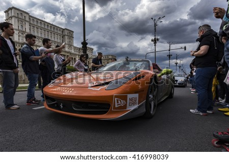 BUCHAREST, ROMANIA - MAY 7: Ferrari 458 on parade on May 7, 2016 in Bucharest. The car is part of the Gumball 3000 Dublin to Bucharest Charity Grid Rally. - stock photo