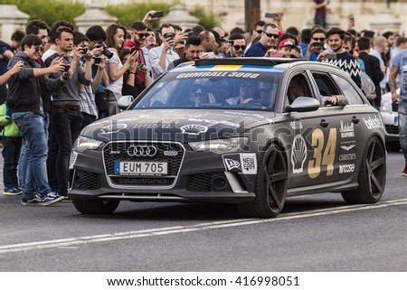 BUCHAREST, ROMANIA - MAY 7: Ferrari RS6 on parade on May 7, 2016 in Bucharest. The car is part of the Gumball 3000 Dublin to Bucharest Charity Grid Rally. - stock photo
