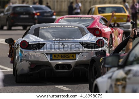 BUCHAREST, ROMANIA - MAY 7: Ferrari supercars on parade on May 7, 2016 in Bucharest. The car is part of the Gumball 3000 Dublin to Bucharest Charity Grid Rally. - stock photo