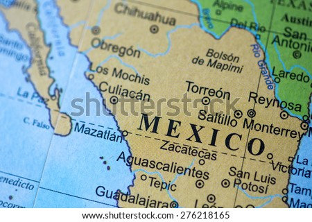 Bucharest, Romania - May 8, 2015: Illustrative editorial of Mexico on a geographical globe.